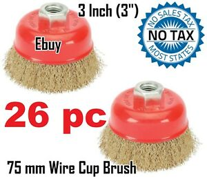 Ebuy 26pc 3 75mm Wire Brush Crimp Cup Brush For Angle Grinder