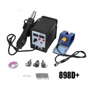 898d 2in1 Smd Rework Soldering Station Iron Esd Welder Desoldering Gun Hot 110v