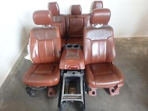 11 16 Ford F250 F350 Front Rear Seats King Ranch Leather Complete W Console