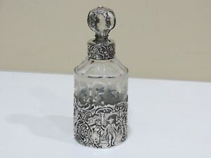 Rare Antique Sterling Silver Overlay Glass Perfume Bottle