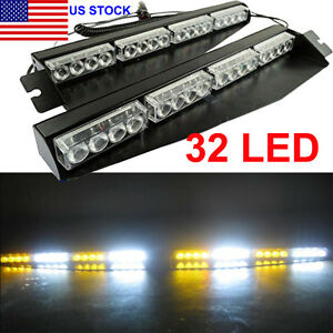 32 Led Emergency Warning Strobe Light Car Windshield Split Mount Dash Flash Lamp