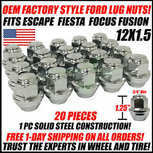20 Oem Factory Style Ford Chrome Lug Nuts 12x1 5 For Fusion Focus Fiesta Escape