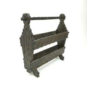 Vintage Burnished Wood Rustic Witco Mid Century Carved Magazine Rack Holder