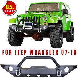 Jeep Wrangler Jk Rock Crawler Front Bumper With Fog Hole D ring For 07 18