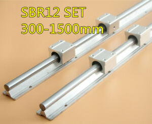 Sbr12 300 1500mm Shaft Rod Rail Set 2x Linear Rail With 4x Sbr12uu Bearing