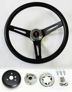Gto Firebird Lemans Tempest Bonneville Black On Black Steering Wheel 13 1 2