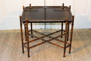 Baker Chinoiserie Mid Century Faux Bamboo Tray End Accent Table