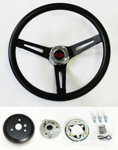 Chevy C10 C20 C30 Blazer Black On Black Steering Wheel 13 1 2 Rd Blk Bowtie Cap