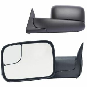 K Source 60177 78c Set Of 2 Manual Towing Mirrors Black For Dodge Ram 2500 3500