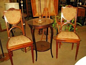 Pair Of Antique Art Nouveau Side Or Bedroom Chairs French Carved Walnut