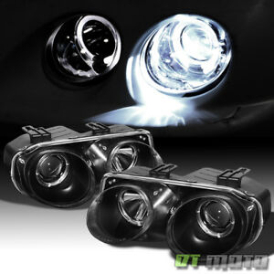 Black 1998 1999 2000 2001 Acura Integra Led Halo Projector Headlights Left right