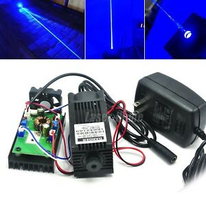 450nm 2w Blue Focus Dot Laser Diode Module 2000mw Engrave Carving W 12v Adapter