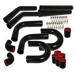 Universal 3 Aluminum Turbo Intercooler Piping Pipe Kits clamp coupler Black