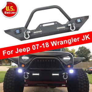 For 07 18 Jeep Wrangler Jk Front Bumper Jeep Winch Plate Built In Cree Led Light