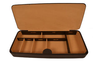 Genuine Leather Brown Large Valet Lid Tray Desk Drawer Organizer Catch All