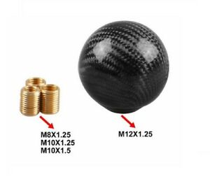 Black Carbon Fiber Gear Shift Knob Round Ball Shape Fit Universal Car