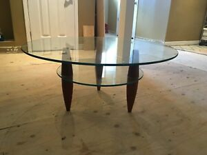 Wood And Glass Top Modern Round Low Coffee Table In The Style Of Gio Ponti