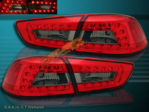 08 11 Mitsubishi Lancer Led Red Smoke Tail Lights 4pcs New 2009 2010