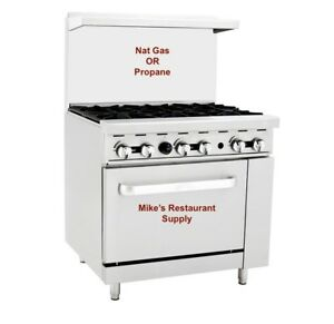 New 36 6 Burner Gas Or Propane Range Oven Commercial Restaurant Etl nsf 8331
