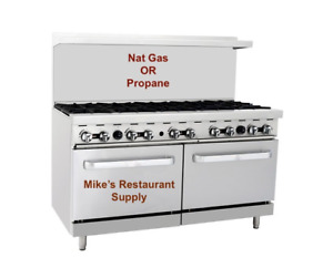 New 60 10 Burner Range Oven Nat Gas Or Lp Commercial Restaurant Nsf etl 8333