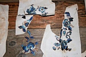 Unused Antique Chinese Silk Embroidery On Paper Floral Blues 3