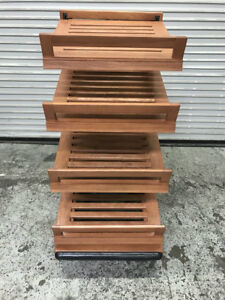 24 X 32 4 Tier Wood Display Rack With Baskets 8313 Bakery Bread Store Holder