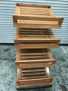 24 X 32 4 Tier Wood Display Rack With Baskets 8314 Bakery Bread Store Holder