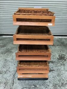 24 X 32 4 Tier Wood Display Rack With Baskets 8317 Bakery Bread Store Holder