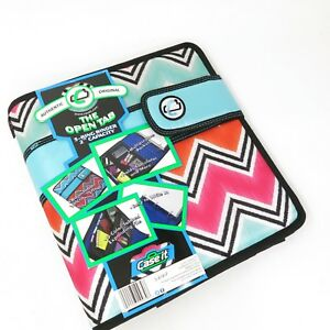 Case it The Open Tab Binders 3 Ring 2 Inch Capacity Multi Color Zip Zag