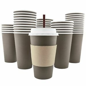 100 Pack 16 Oz 8 12 20 Disposable Hot Paper Coffee Cups Lids Sleeves