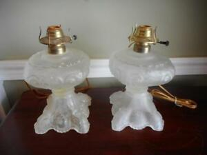 Pair Victorian Princess Feather Clear Satin Glass Electrified Oil Lamp Bases