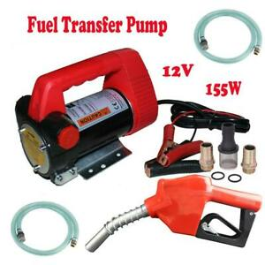 New 12v 10gpm Electric Diesel Oil Fuel Transfer Extractor Pump W Nozzle