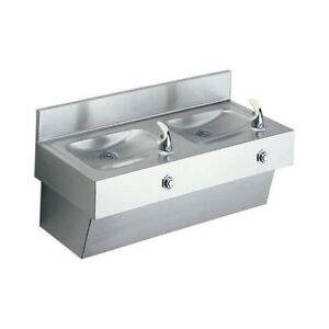 Brand New Elkay Edf210c Stainless Steel Double Drinking Fountain