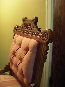 Antique Eastlake Victorian Dark Wood Chairs 2 Pink Tufted Beautifully Carved