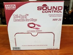 Msa Tri seal Reusable Ear Plugs W Cord Nrr25 Sound Control New Box 100 Pairs