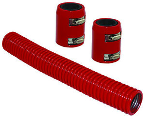 12 Red Stainless Flexible Radiator Hose Kit W Billet Clamp Covers Chevy Ford