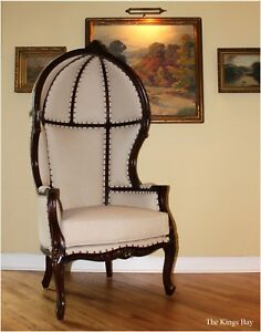 Off White Dome Top Porters Chair Dark Mahogany French Balloon Bonnet Canopy