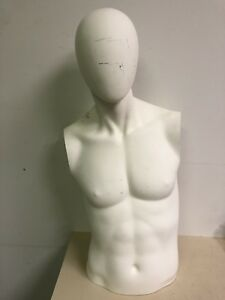 Male Mannequin Torso White Head no Arms Used Professional