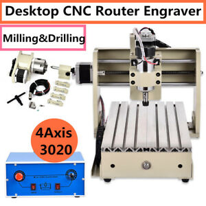 4 Axis 3020 Cnc Router Engraver Engraving Milling Drilling Cutter Machine Mach3