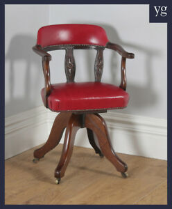 Antique English Victorian Oak Crimson Leather Revolving Office Desk Arm Chair