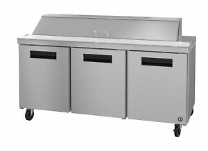 Hoshizaki Crmr72 18 Refrigerator Three Section Sandwich Prep Table Stainless