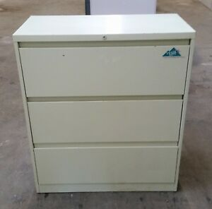 Steelcase 3 Three Drawer Lateral Legal File Cabinet Working Lock