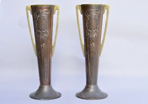 Pair Art Nouveau Arts Crafts Beldray Copper And Brass Vase Vases 26cm Antique
