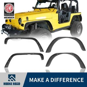 Fit 1997 2006 Jeep Wrangler Tj Black Textured Steel Flat Style Fender Flares