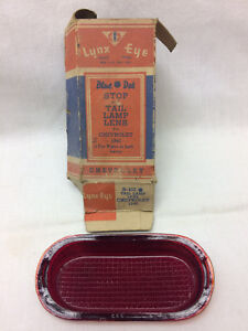 Vintage 1940 Chevrolet Stop Tail Lamp Lens B 433 Red Glass Original Box Lynx Eye