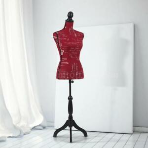 Ikayaa Female Mannequin Torso Dress Form Clothing Wood Stand Adjustable Red C1r5