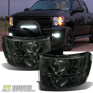 smoke 2007 2013 Chevy Silverado 1500 Led Halo Projector Headlights Drl Lamps