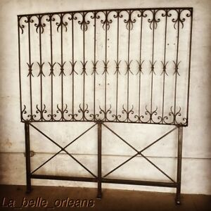Late 19thc Wrought Iron Fence Panel Custom Made Bed Headboard Queen Size L K