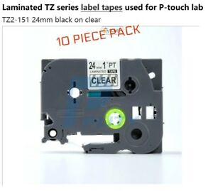 10 Tze 151 Compatible Black Print On Clear Tape 1 24mm Tze151 Label Brother