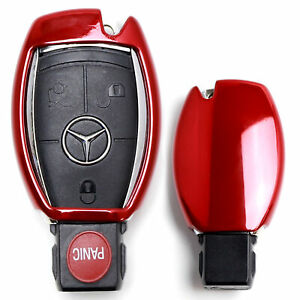 Chrome Red Tpu Key Fob Case For Mercedes C E S M Cla Clk Cls Slk Glk Gla Gl Etc
